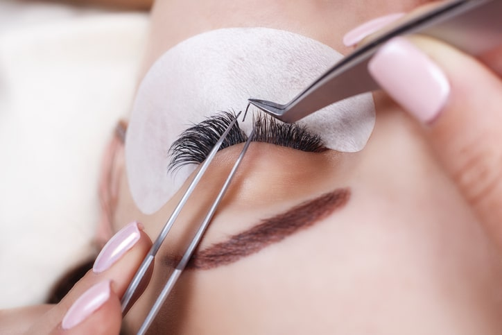 Applying eyelash extensions with Lash Stuff eyelash extension supplies