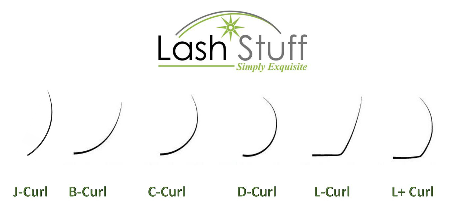 Different types of eyelash extension curls