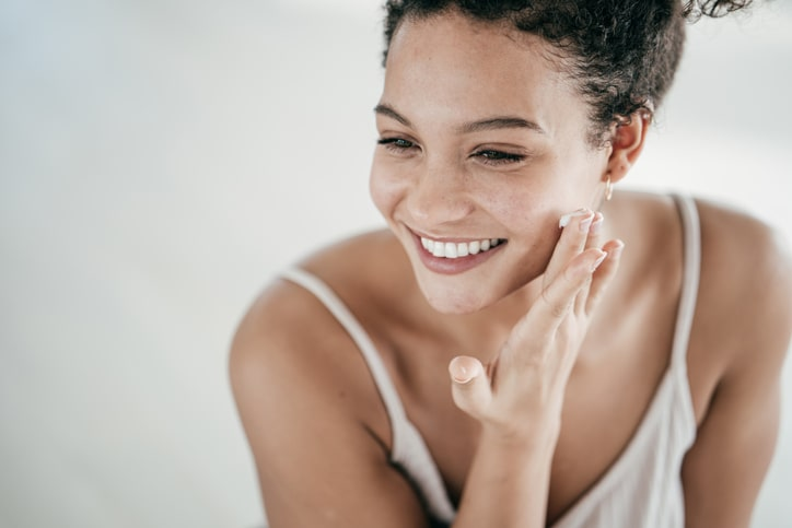 Woman caring for here skin